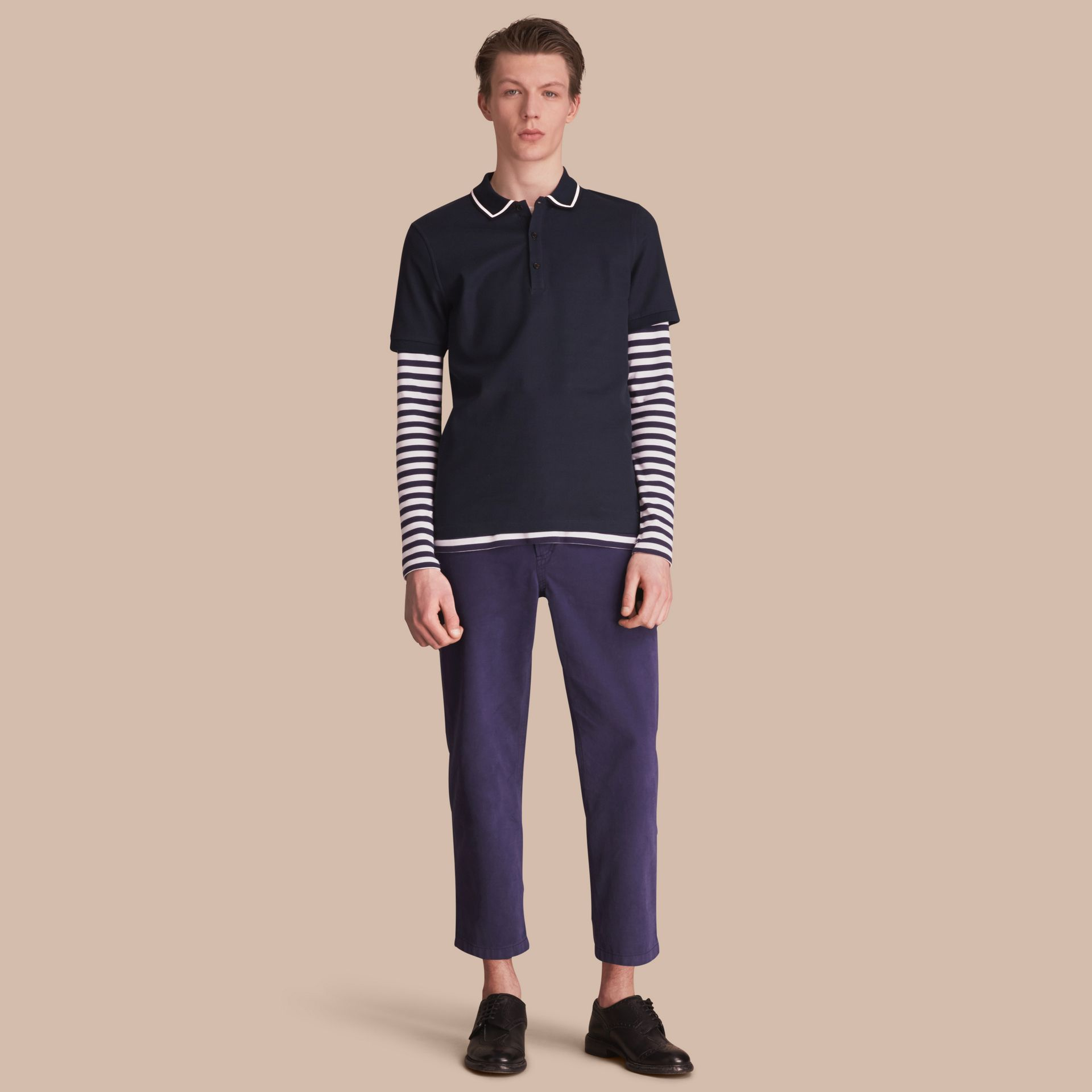 Striped Collar Cotton Piqué Polo Shirt in Navy - Men | Burberry - gallery image 1