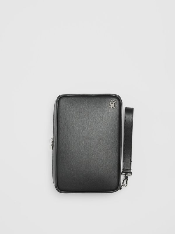 London Leather Travel Pouch in Black - Men | Burberry Singapore - cell image 3