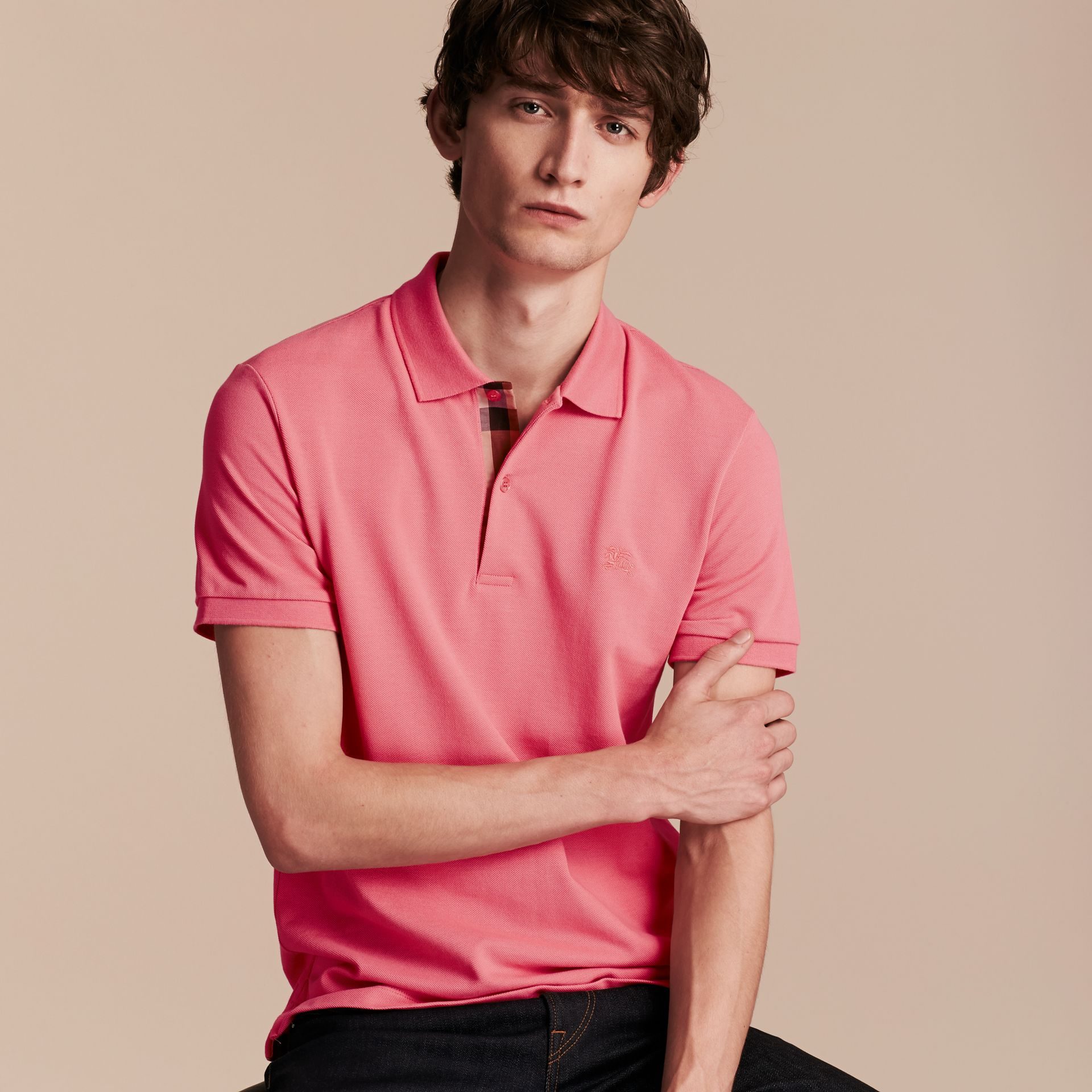 Check Placket Cotton Piqué Polo Shirt in Rose Pink - gallery image 6
