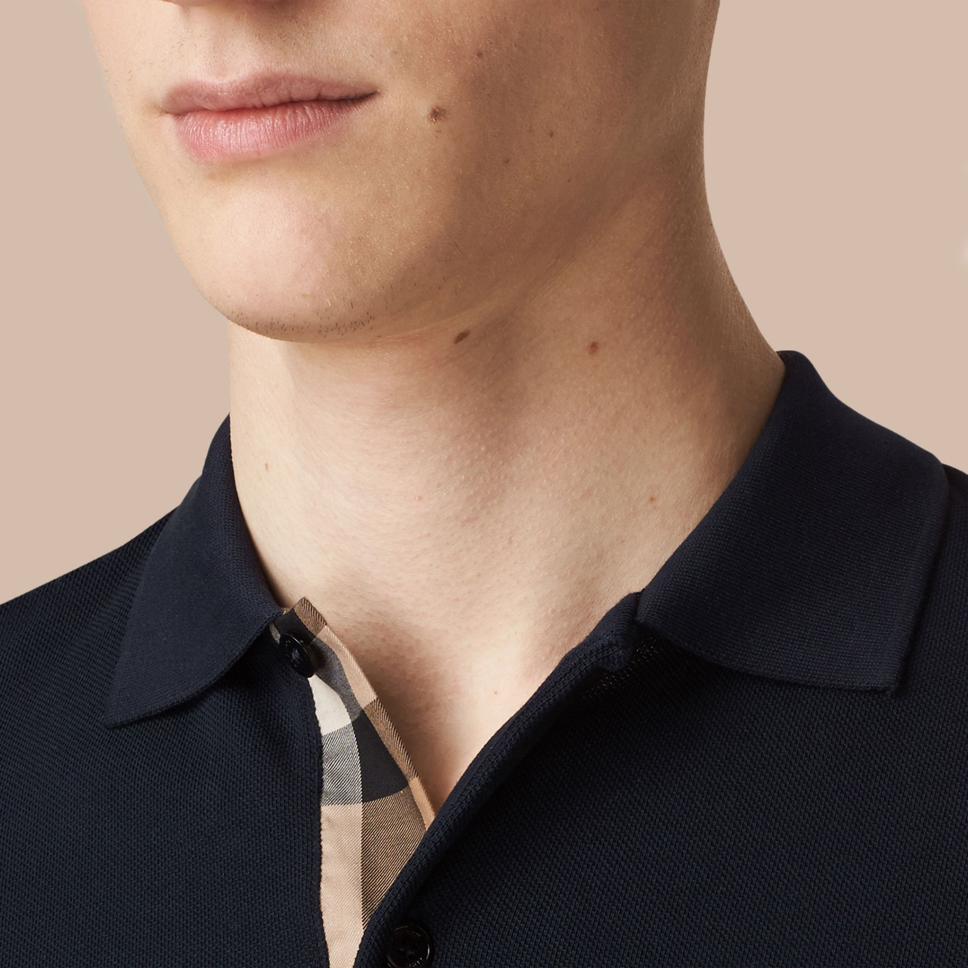 Check Placket Long Sleeve Polo Shirt in Dark Navy - gallery image 5