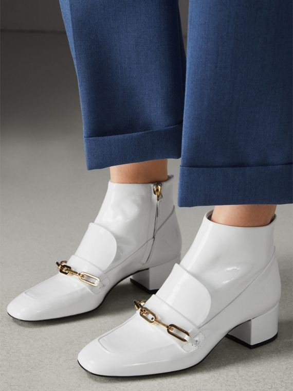 Link Detail Patent Leather Ankle Boots in Optic White - Women | Burberry - cell image 2
