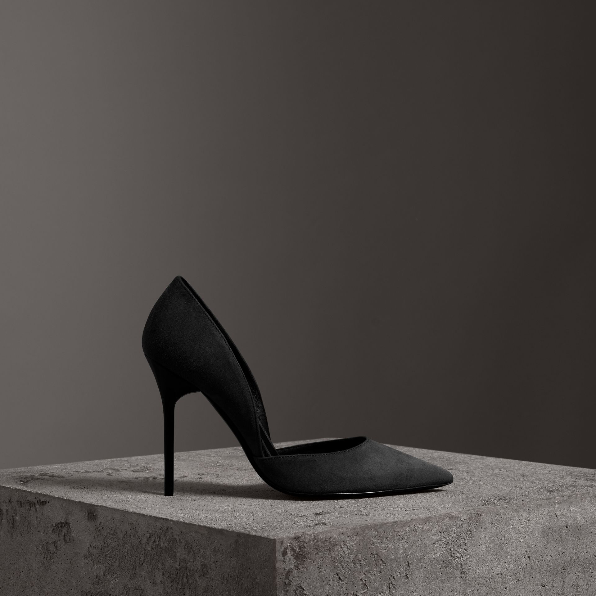 Cutaway Suede Pumps in Black - Women | Burberry - gallery image 0