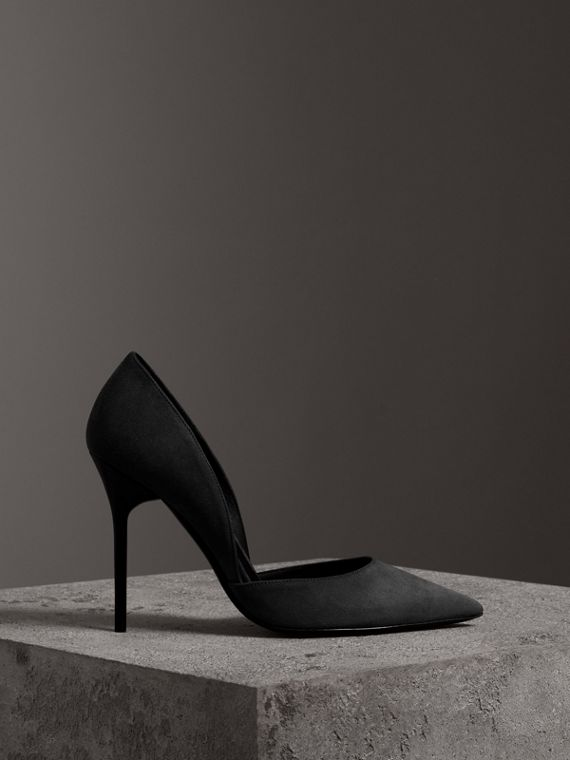 Cutaway Suede Pumps in Black