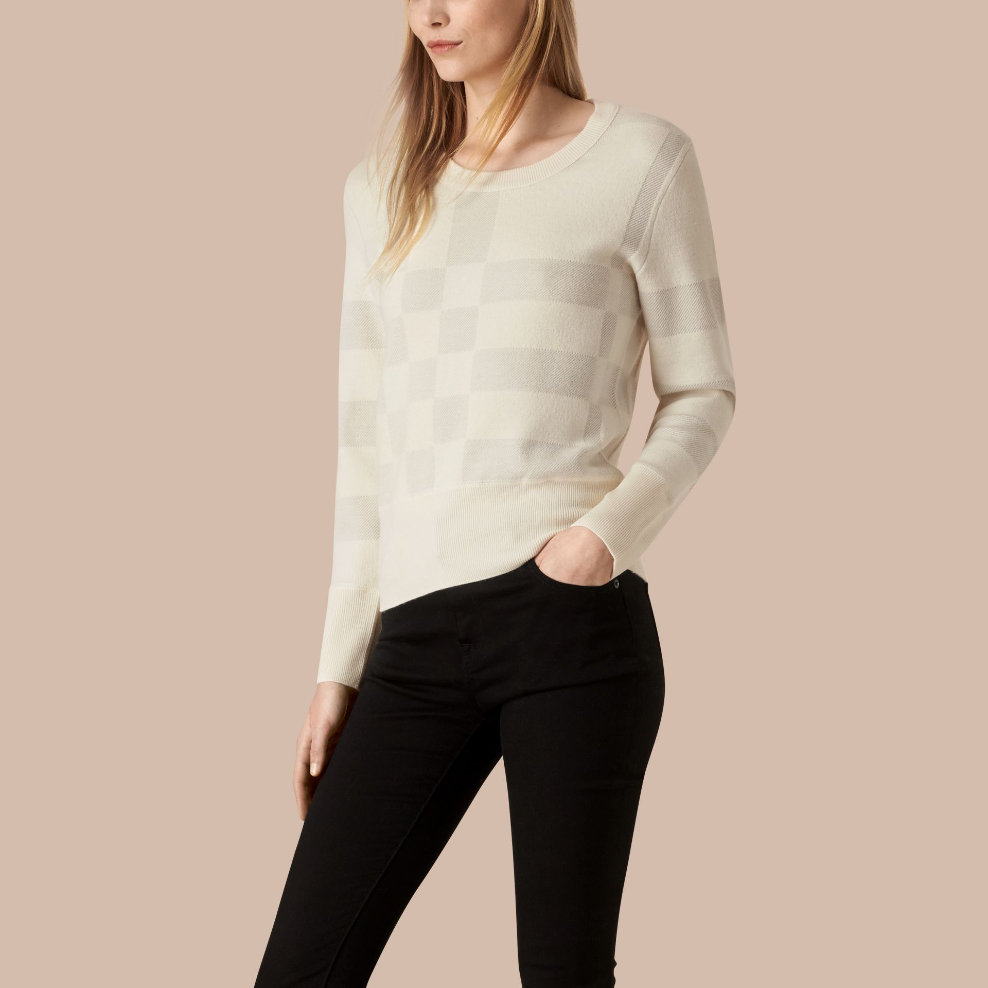 Natural white Check Knit Wool Blend Sweater Natural White - gallery image 1