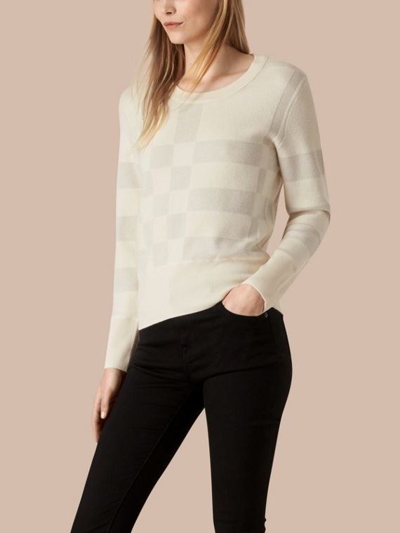 Check Knit Wool Blend Sweater Natural White