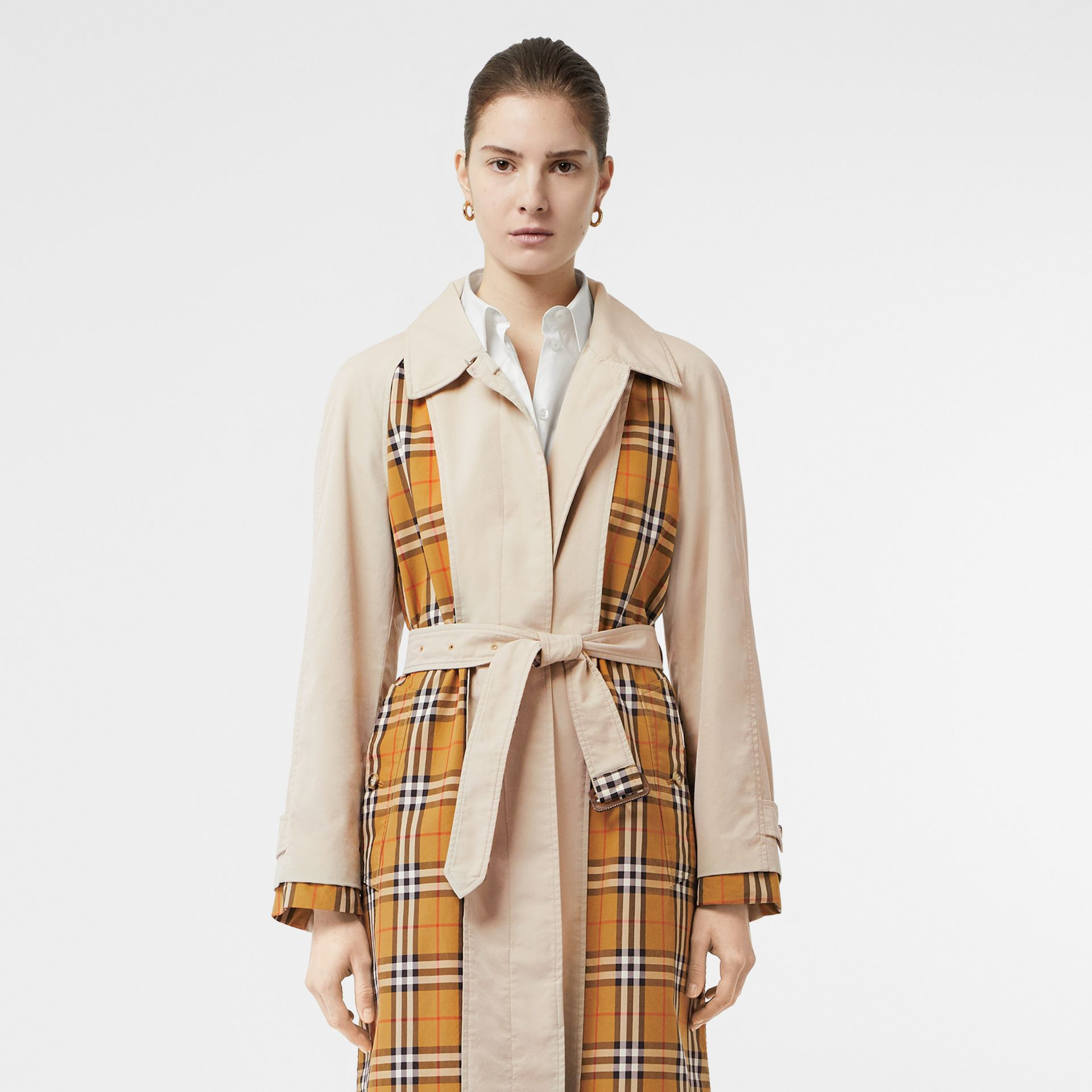 Vintage Check and Tropical Gabardine Car Coat in Stone - Women | Burberry United States - gallery image 8