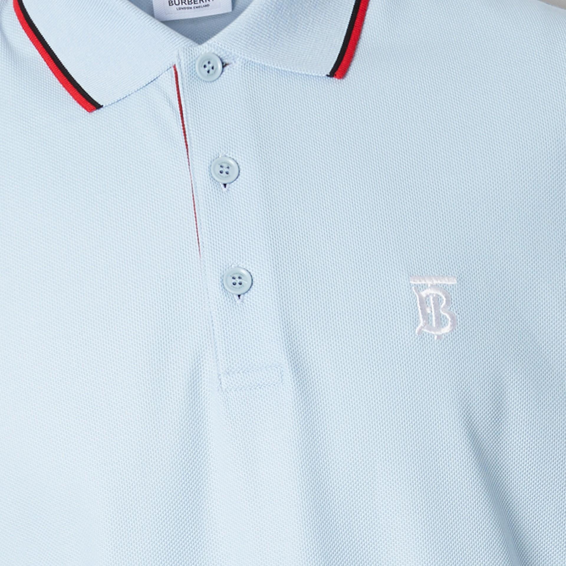 Long-sleeve Monogram Motif Cotton Piqué Polo Shirt in Pale Blue - Men | Burberry - gallery image 1