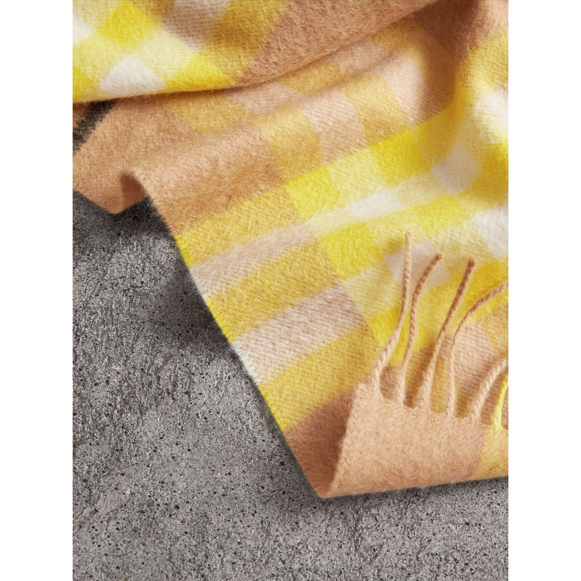 The Classic Check Cashmere Scarf in Bright Lemon | Burberry United Kingdom - gallery image 1