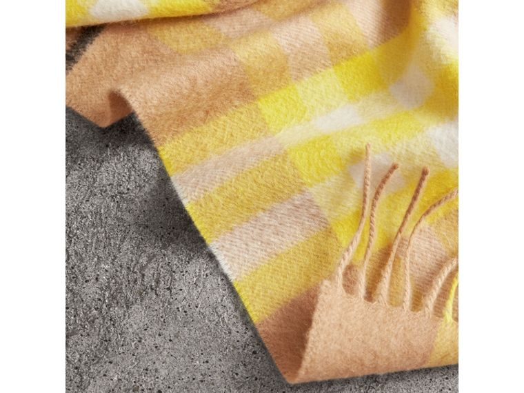 The Classic Check Cashmere Scarf in Bright Lemon | Burberry United Kingdom - cell image 1