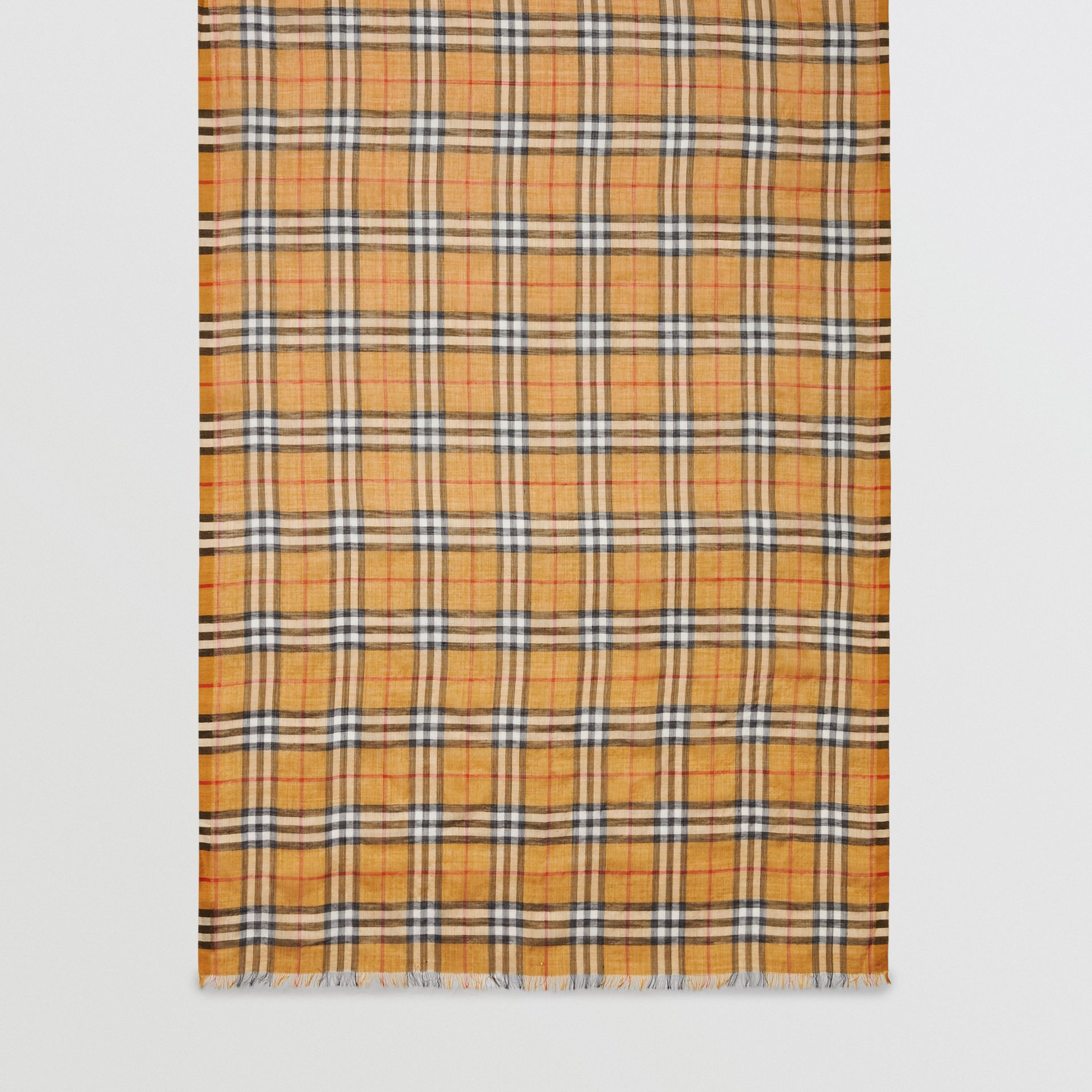 Vintage Check Lightweight Wool Silk Scarf in Antique Yellow | Burberry Singapore - gallery image 6