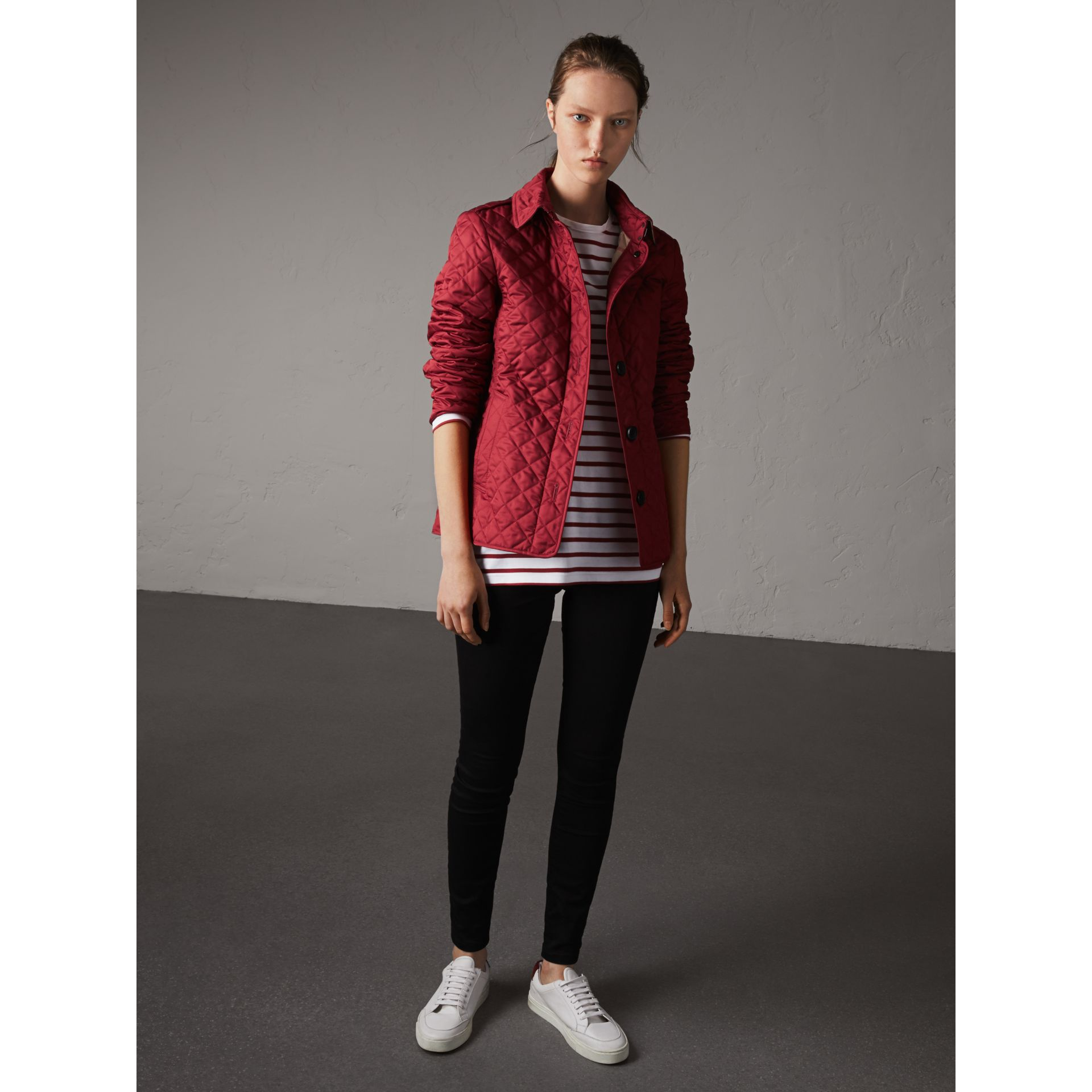 Diamond Quilted Jacket in Parade Red - Women | Burberry Australia - gallery image 1