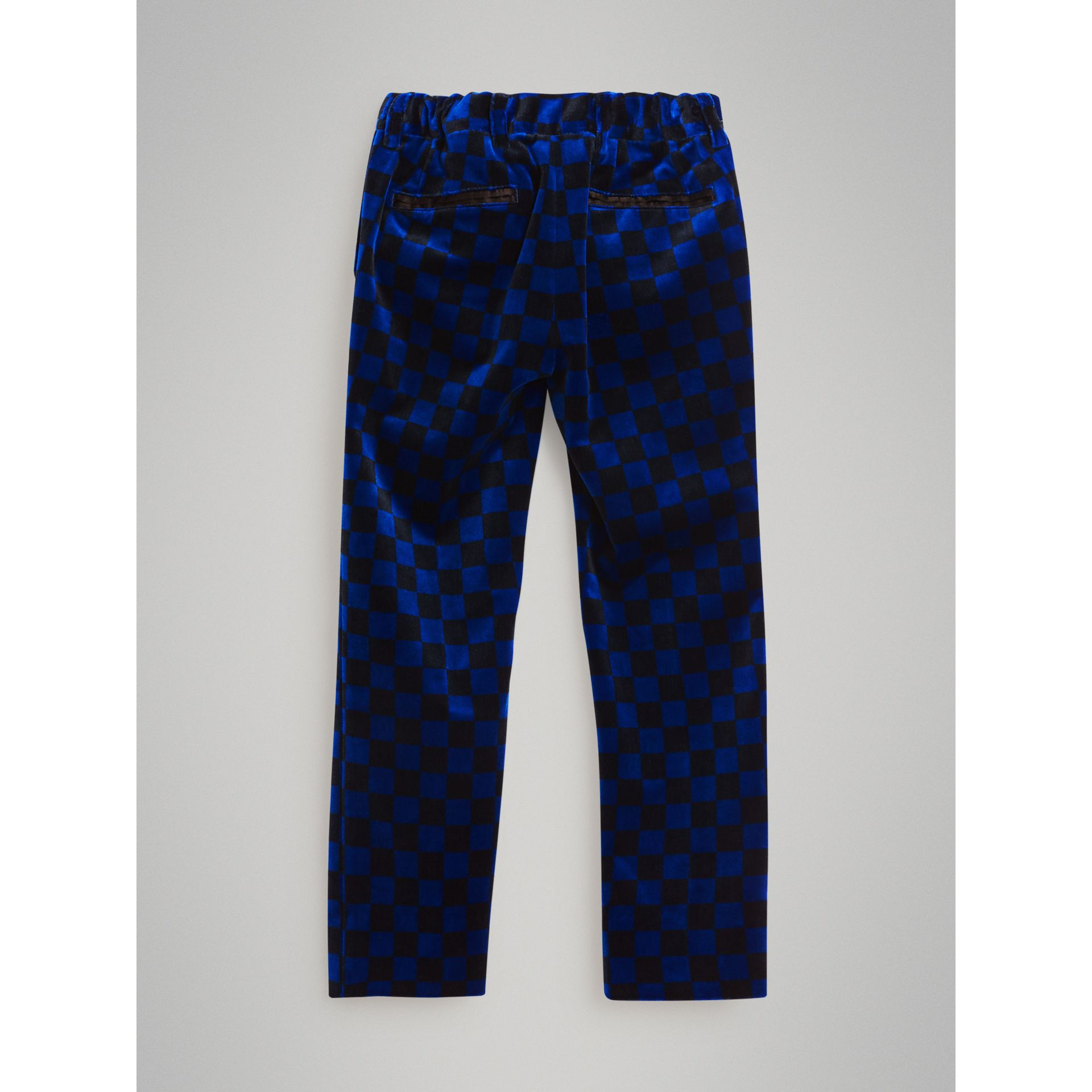 Chequer Stretch Velvet Trousers in Bright Blue | Burberry - gallery image 2