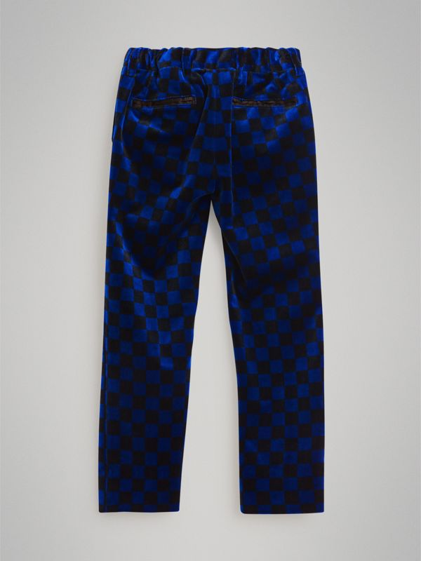 Chequer Stretch Velvet Trousers in Bright Blue | Burberry - cell image 2