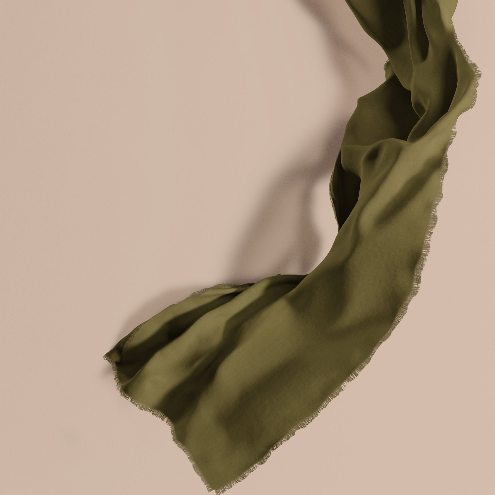 Olive green The Lightweight Cashmere Scarf Olive Green - gallery image 1