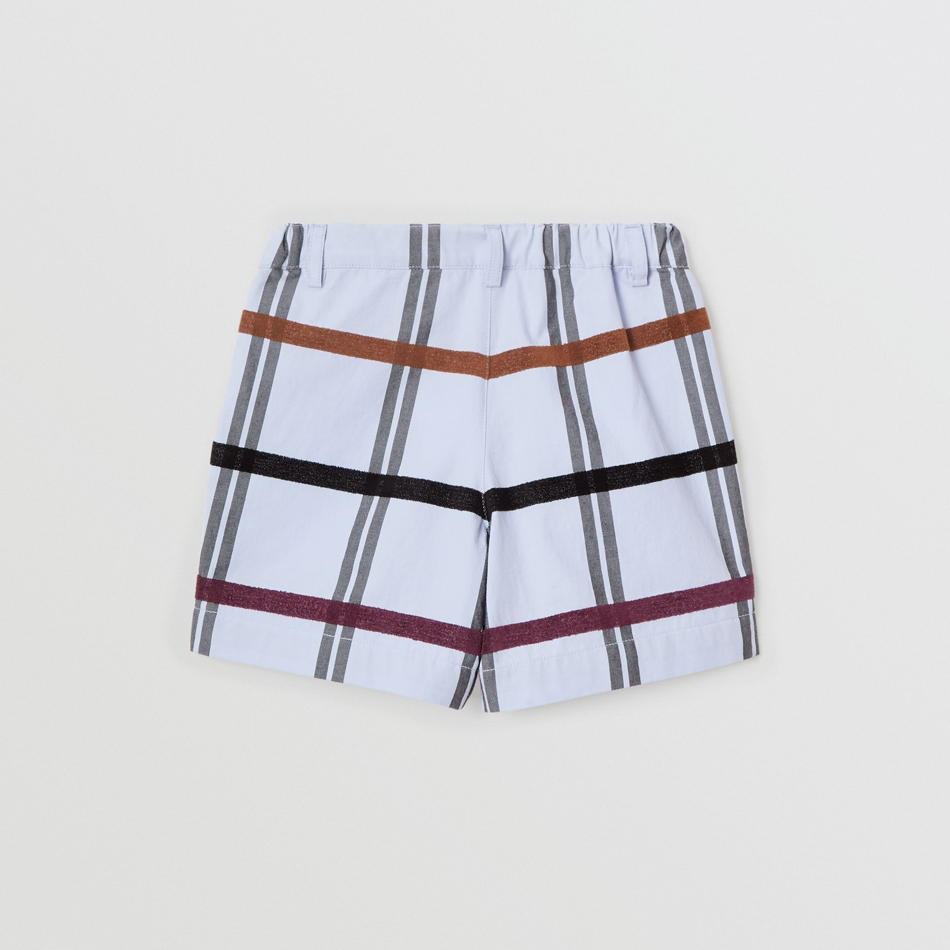 Windowpane Check Cotton Tailored Shorts in Light Blue | Burberry - gallery image 3