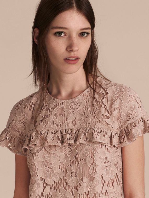 Mid-length Lace Shift Dress with Ruffle Detail