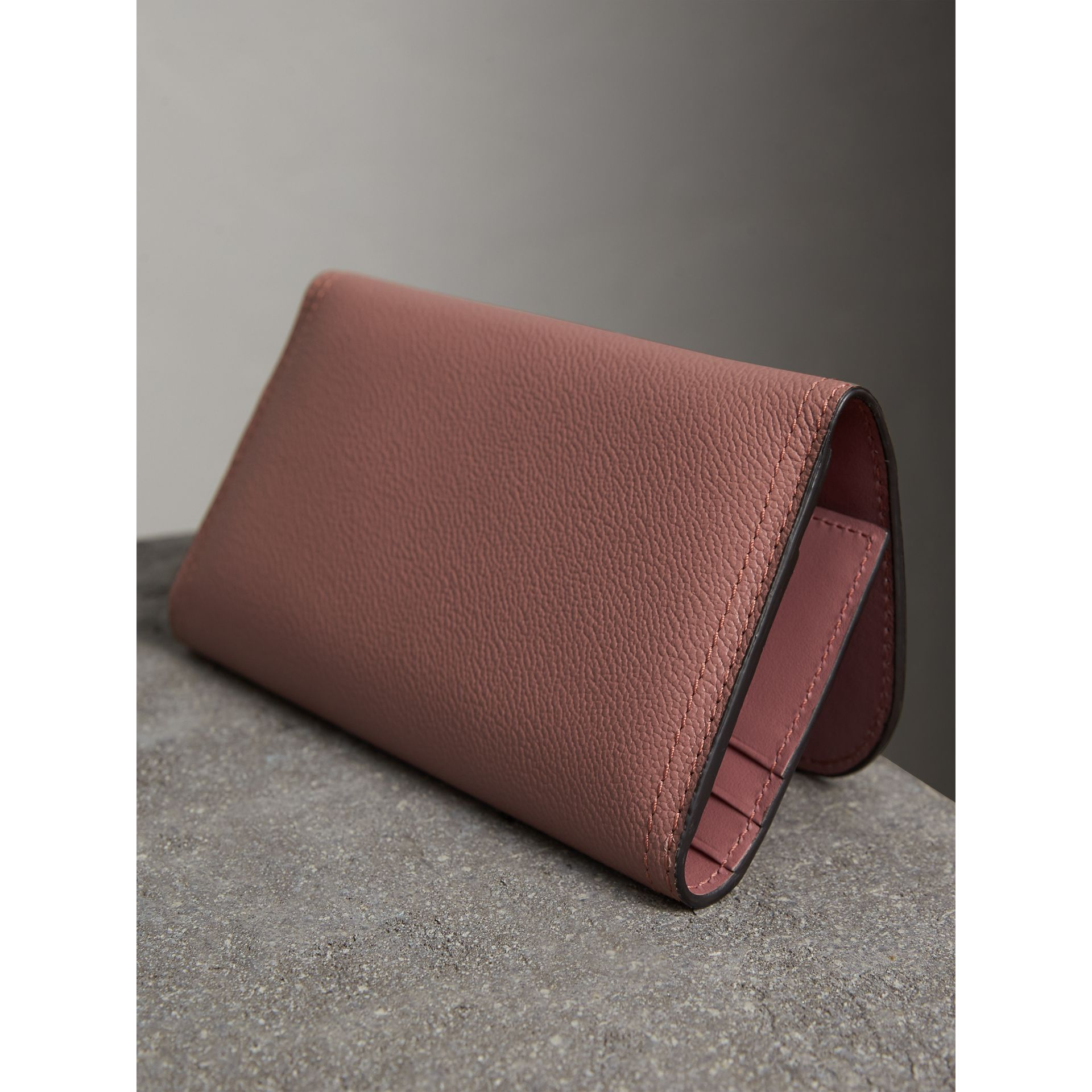 Leather Continental Wallet with Removable Coin Case in Dusty Pink - Women | Burberry - gallery image 3