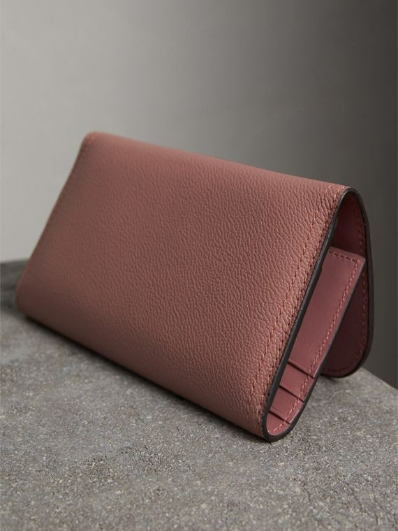 Leather Continental Wallet with Removable Coin Case in Dusty Pink - Women | Burberry - cell image 2