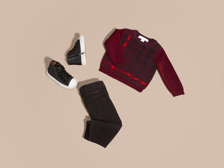 Deep claret Check Wool Cashmere Blend Sweater Deep Claret - cell image 4