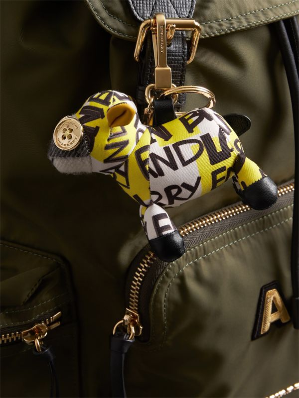 Wendy The Sheep Graffiti Print Cotton Charm in Yellow | Burberry - cell image 2