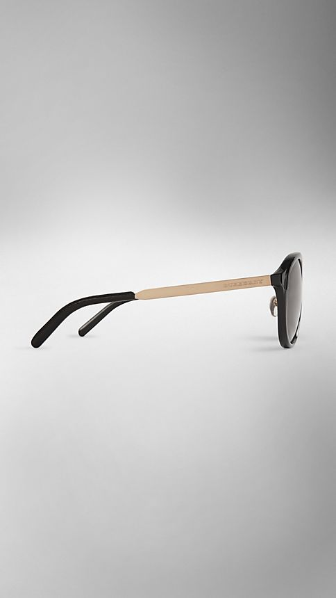 Black Trench Collection Round Frame Sunglasses - Image 4