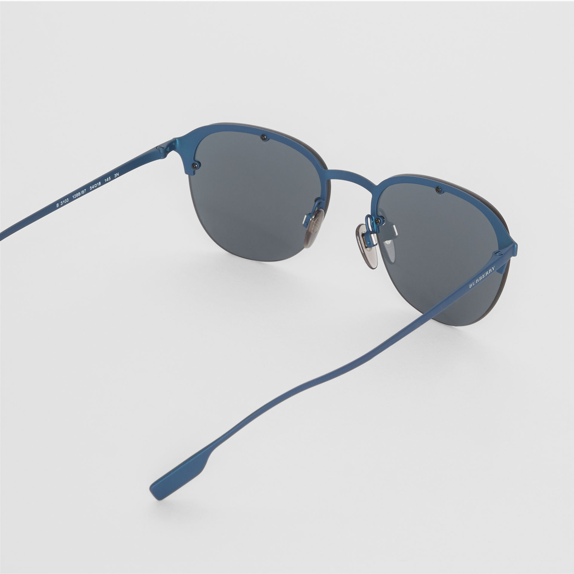 Round Frame Sunglasses in Blue - Men | Burberry - gallery image 4