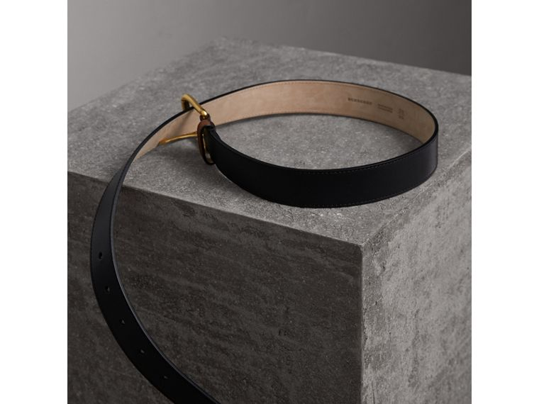 Two-tone Trench Leather Belt in Black - Men | Burberry - cell image 4