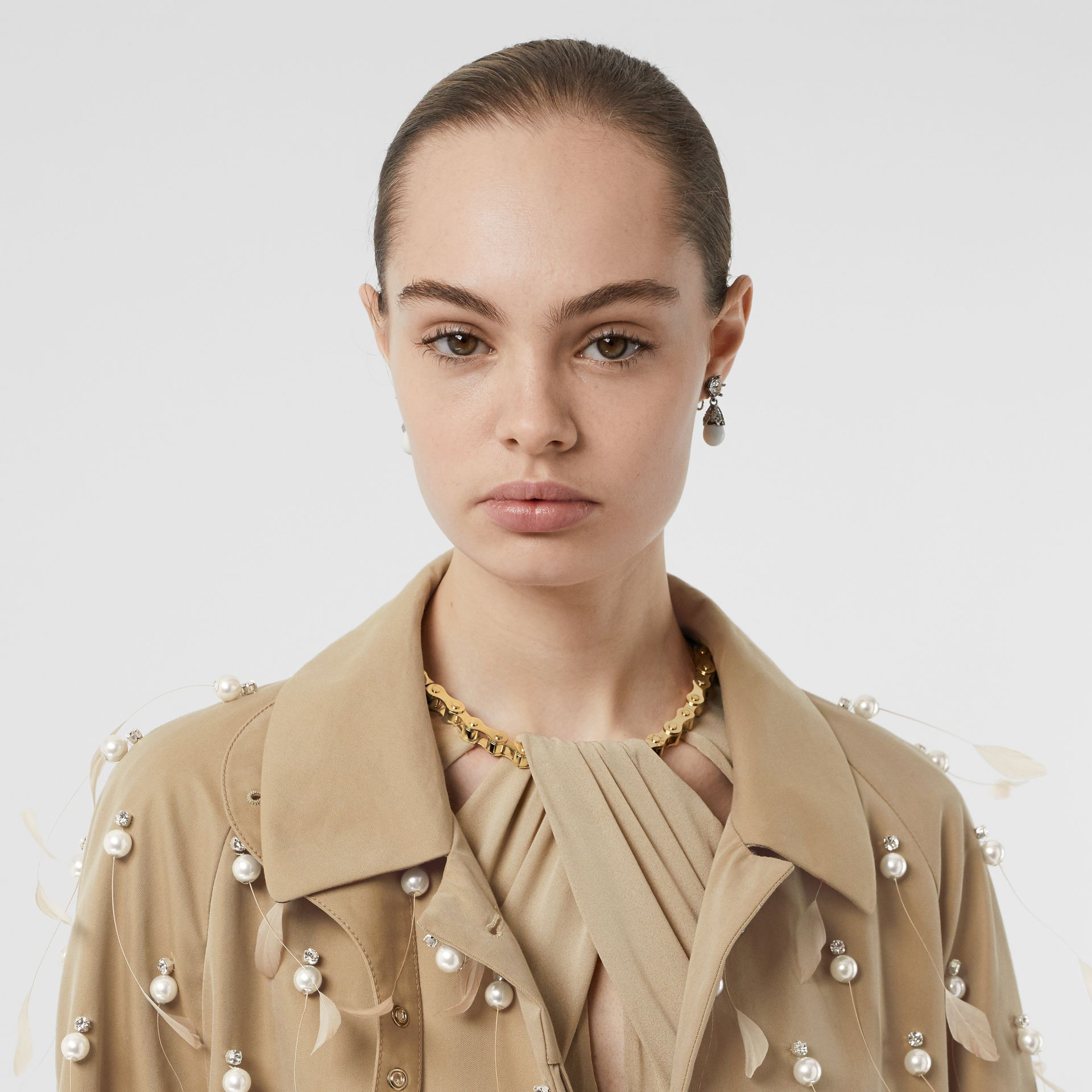 Embellished Cotton Gabardine Car Coat in Pale Honey - Women | Burberry United Kingdom - gallery image 8