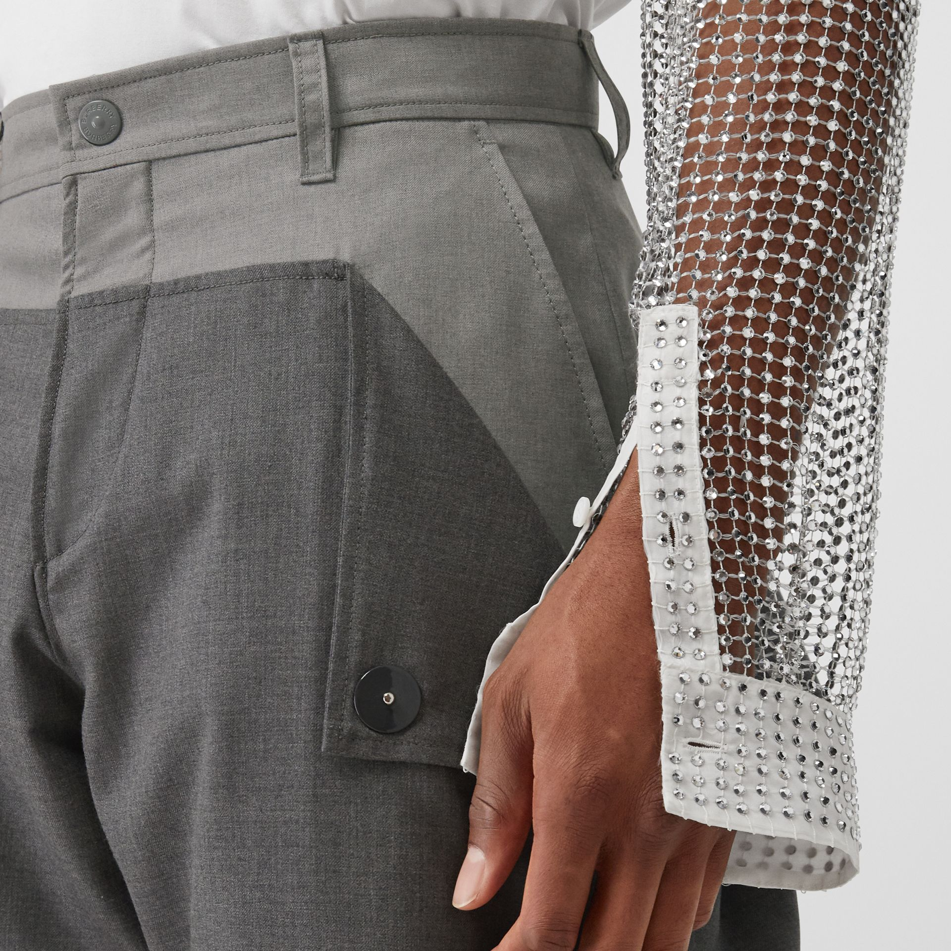 Press-stud Detail Tonal Wool Trousers in Charcoal Grey | Burberry - gallery image 1
