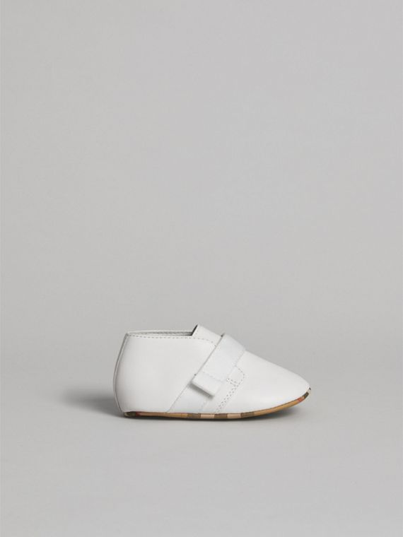 Leather and Vintage Check Shoes in Optic White | Burberry - cell image 3
