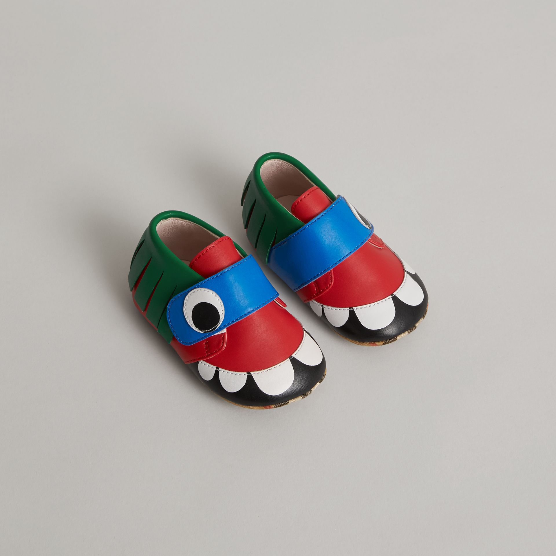 Monster Motif Leather Shoes in Bright Red - Children | Burberry United Kingdom - gallery image 0