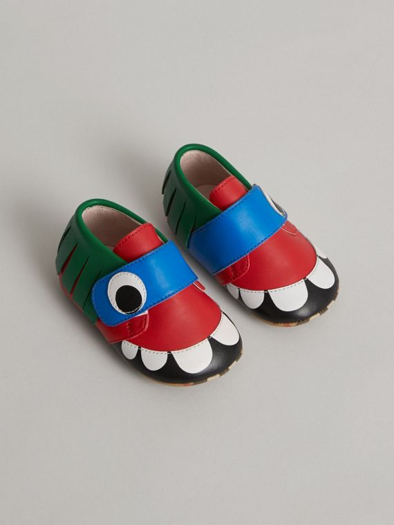 Monster Motif Leather Shoes in Bright Red