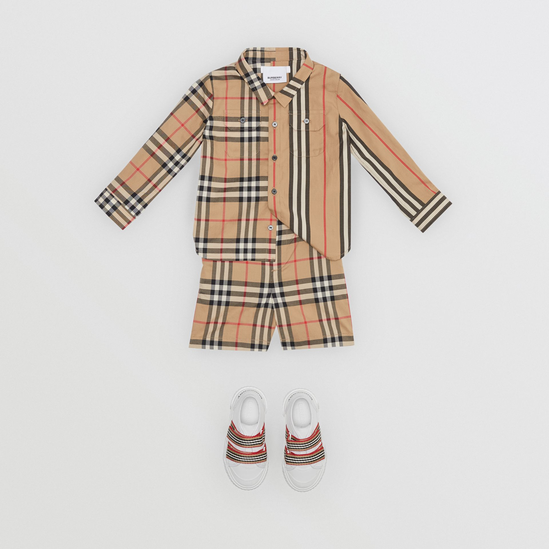 Vintage Check Cotton Poplin Tailored Shorts in Archive Beige - Children | Burberry Canada - gallery image 1