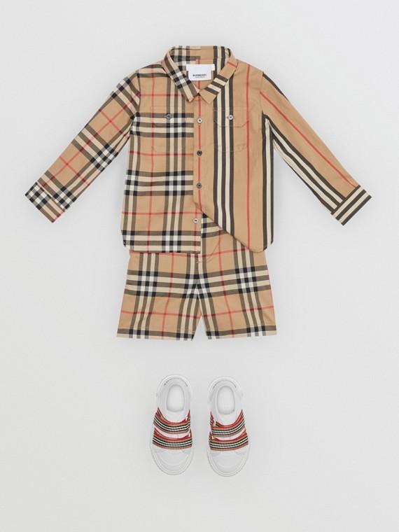 Shorts aus Baumwollpopelin mit Vintage Check-Muster (Vintage-beige)