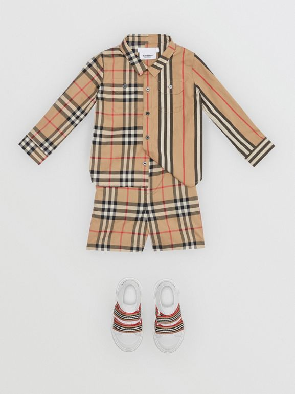 Vintage Check Cotton Poplin Tailored Shorts in Archive Beige - Children | Burberry Canada - cell image 1