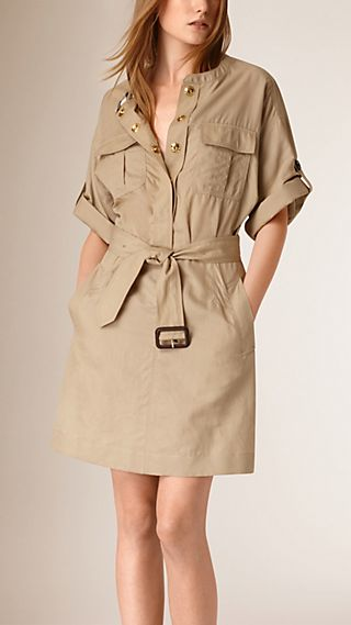 Cotton and Silk Blend Military Dress