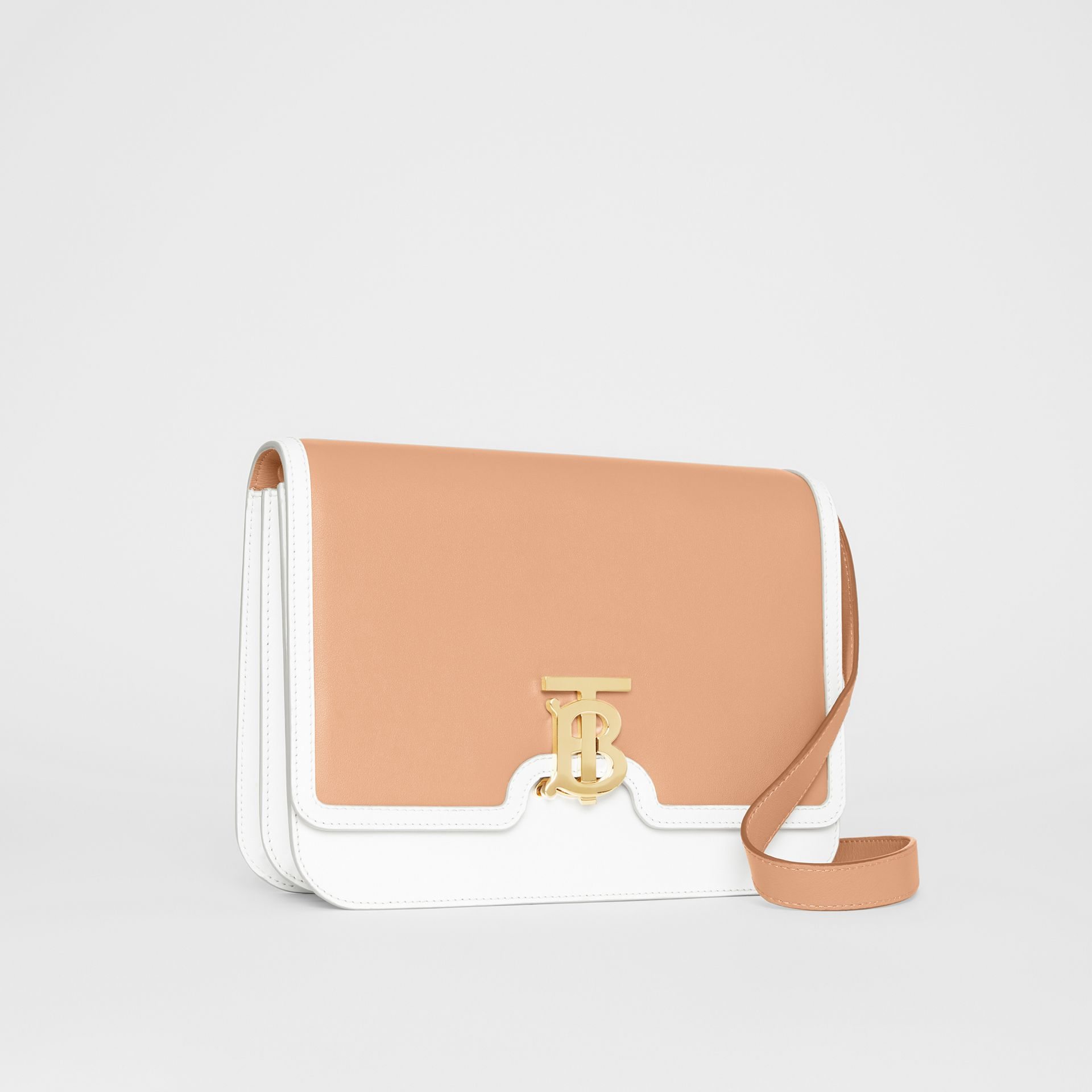 Medium Two-tone Leather TB Bag in Chalk White/light Camel - Women | Burberry - gallery image 6