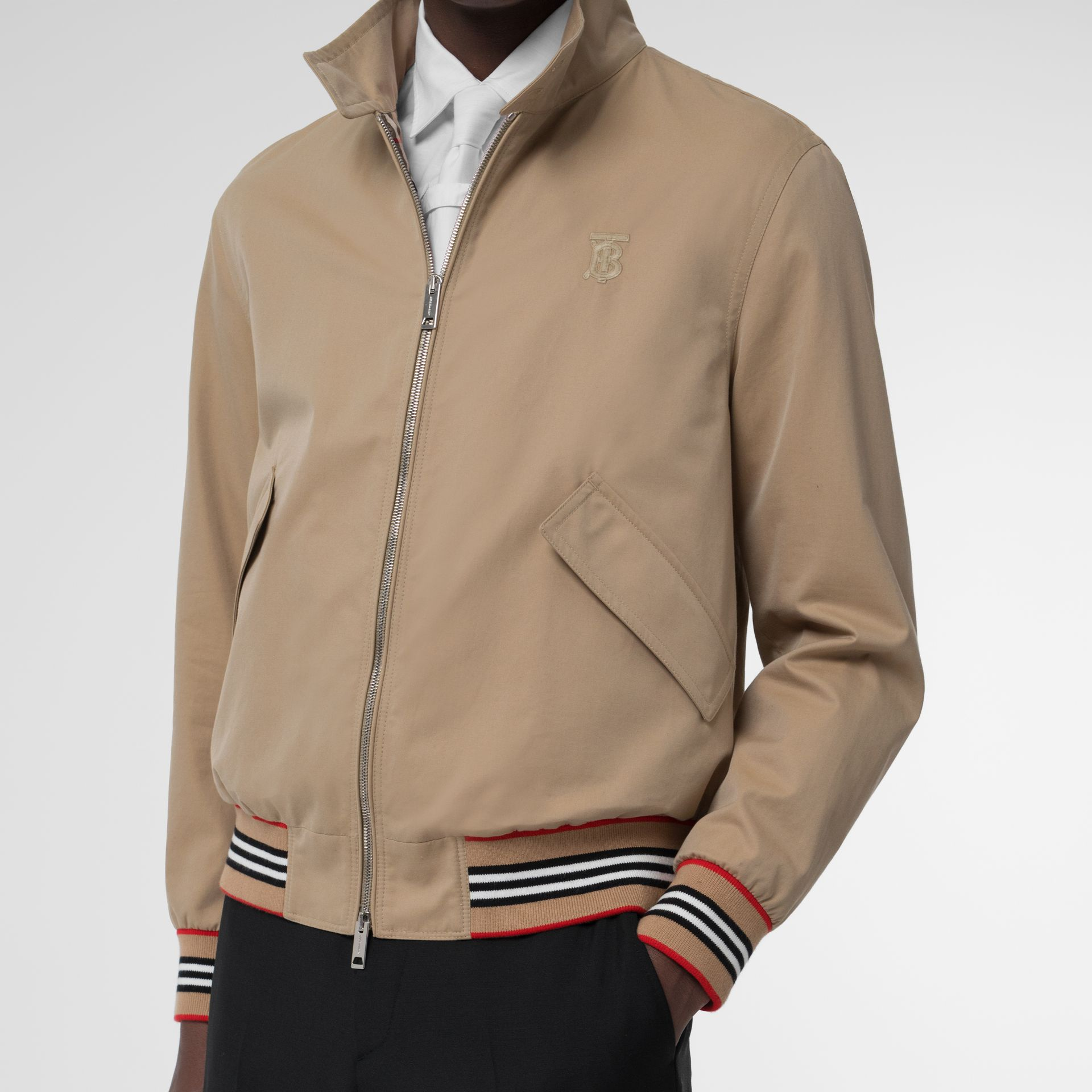 Icon Stripe Detail Cotton Gabardine Harrington Jacket in Honey - Men | Burberry - gallery image 4