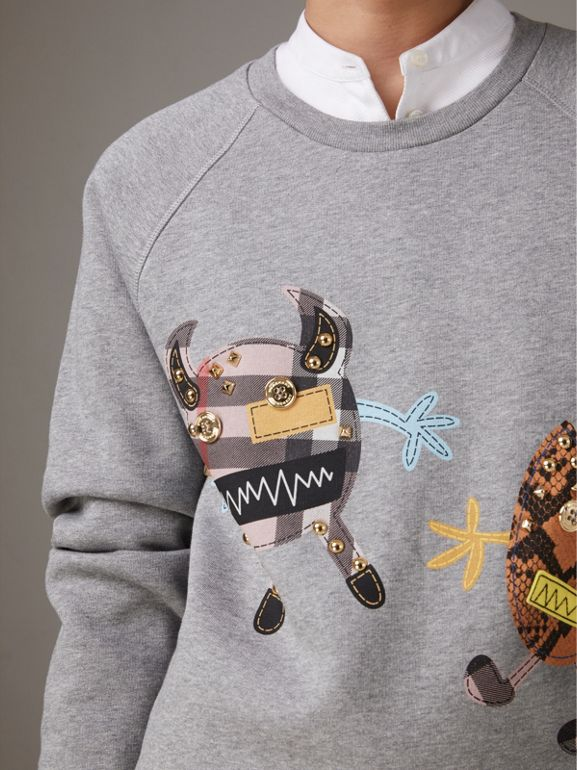 Creature Motif Jersey Sweatshirt in Pale Grey Melange | Burberry - cell image 1