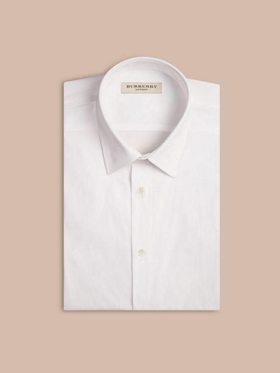 Modern Fit Short-sleeved Stretch Cotton Shirt in White