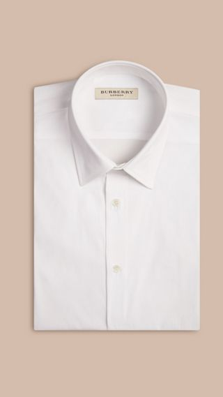 Modern Fit Short-sleeved Stretch Cotton Shirt