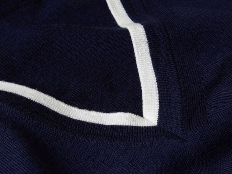 Navy/white Contrast Trim Wool V-neck Sweater - cell image 1
