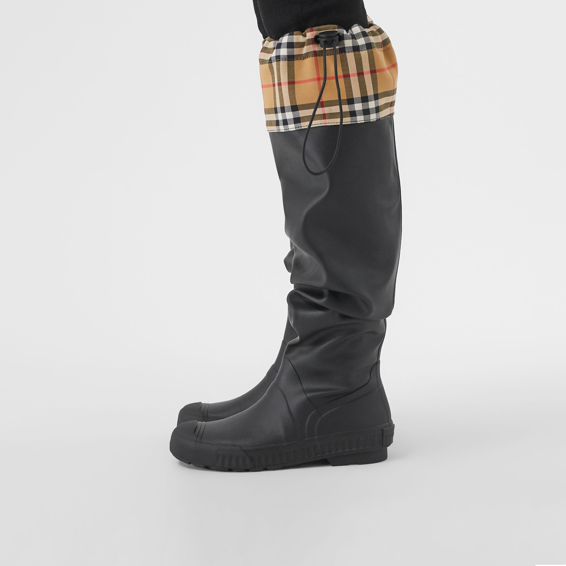 Vintage Check and Rubber Knee-high Rain Boots in Black - Women | Burberry United Kingdom - gallery image 2