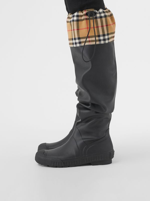 Vintage Check and Rubber Knee-high Rain Boots in Black - Women | Burberry United Kingdom - cell image 2