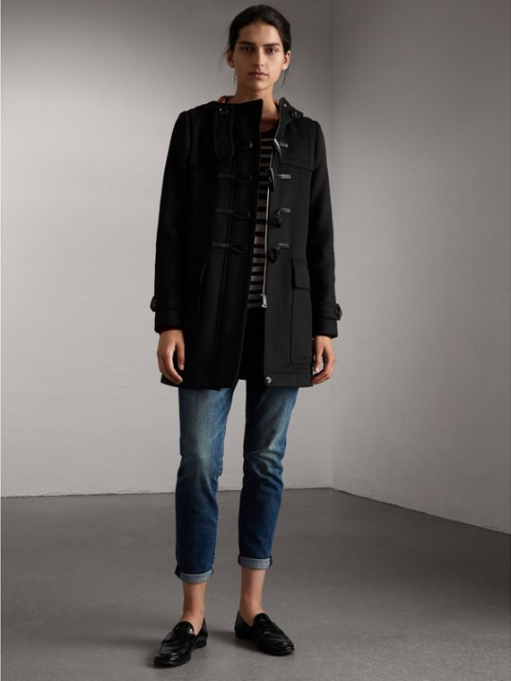 Wool Duffle Coat in Black