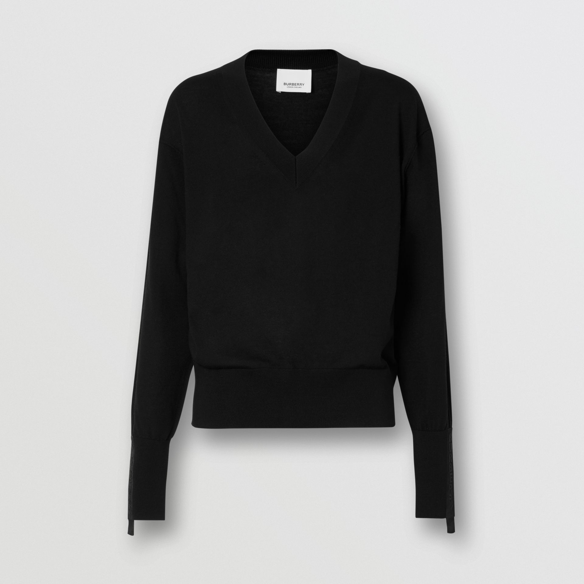 Logo Detail Merino Wool Silk Sweater in Black - Women | Burberry United States - gallery image 3