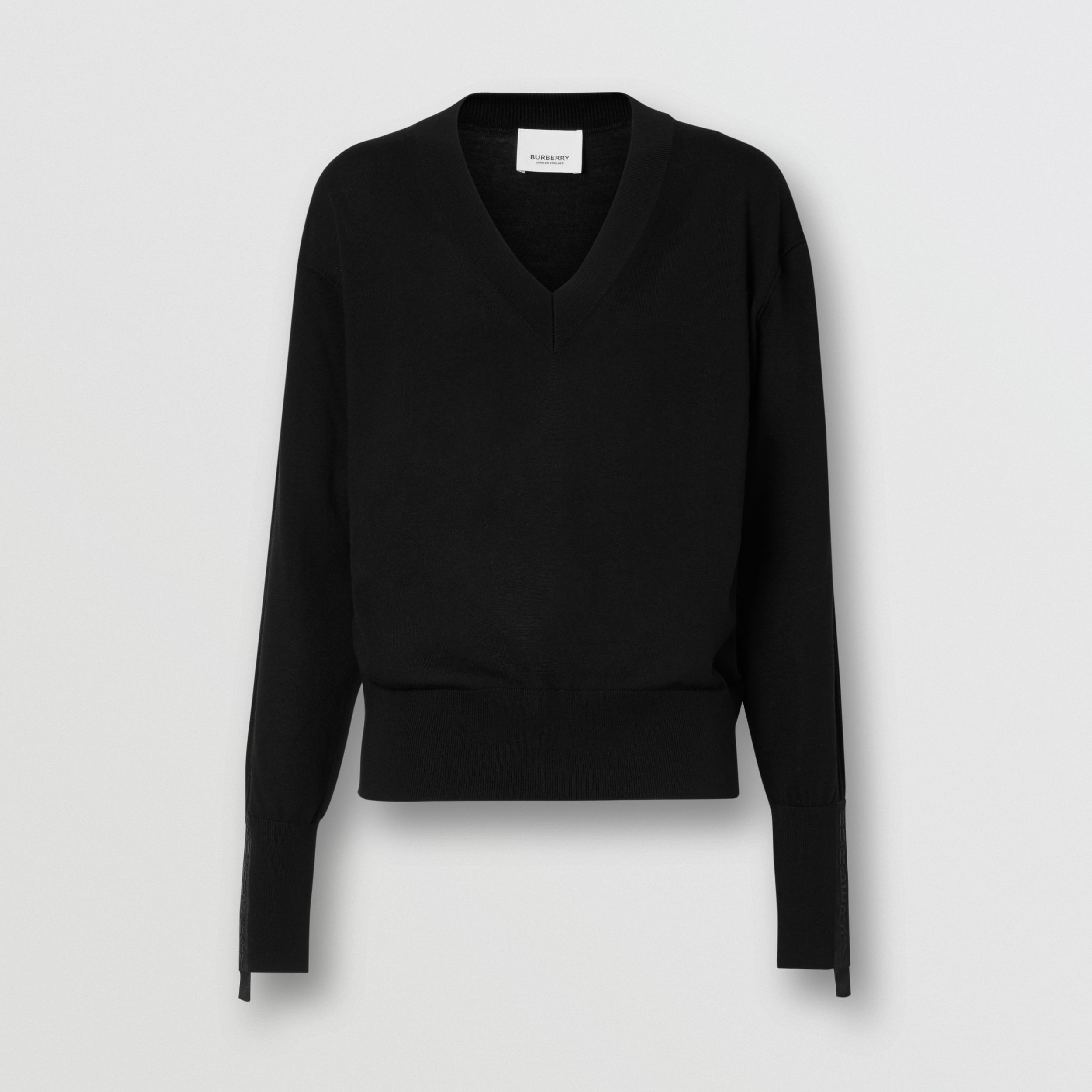 Logo Detail Merino Wool Silk Sweater in Black - Women | Burberry - 4