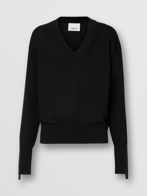 Logo Detail Merino Wool Silk Sweater in Black