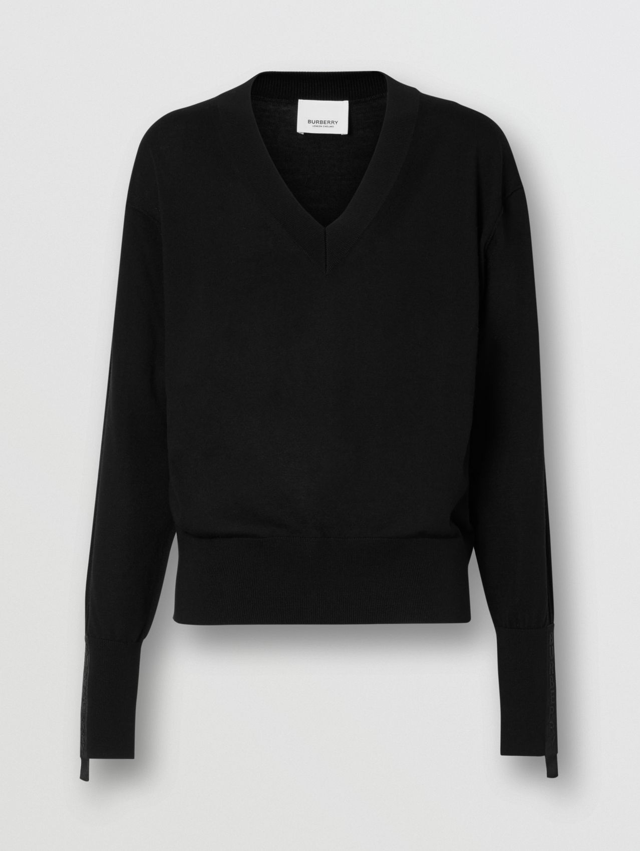 Logo Detail Merino Wool Silk Sweater in Black