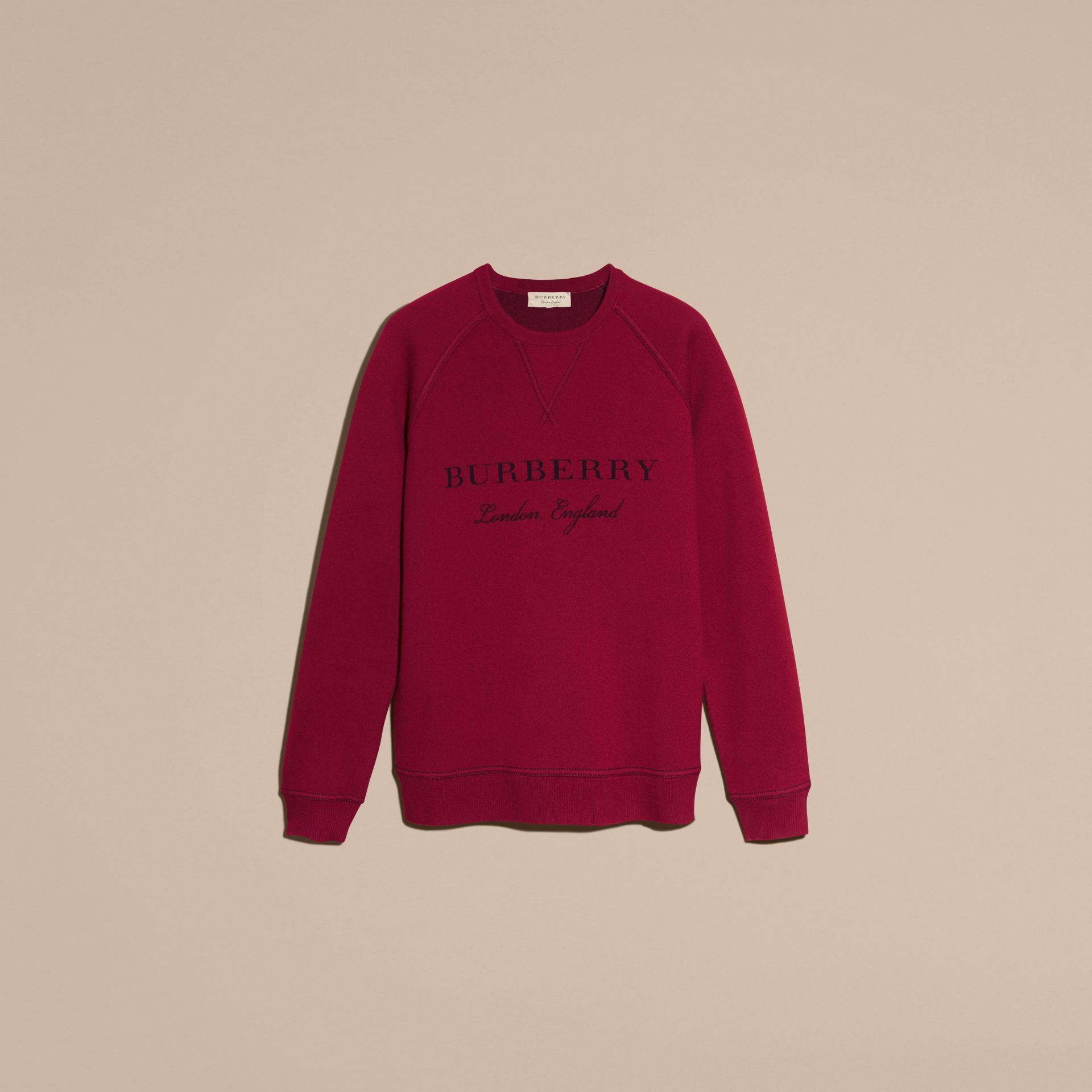Topstitch Detail Wool Cashmere Blend Sweatshirt in Burgundy - Men | Burberry - gallery image 4